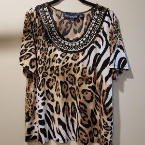 NWOT Susan Graver Cheetah Print Top-Size XL
